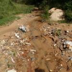 Ribeirão assoreado em Santa Luzia. Grande quantidade de resíduos sólidos domésticos.
